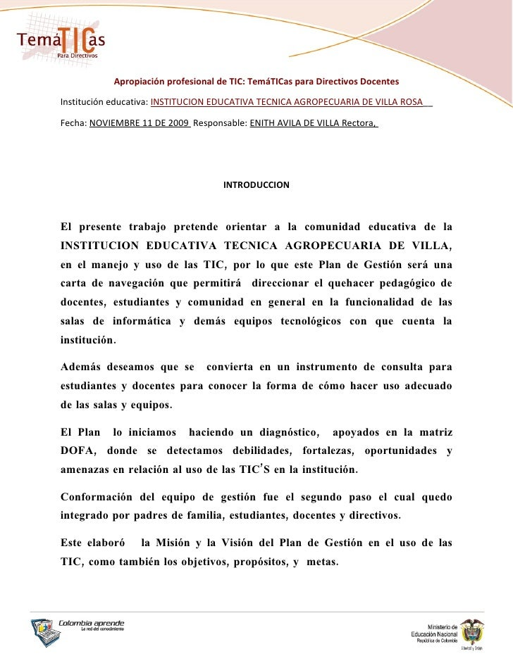 Apropiación profesional de TIC: TemáTICas para Directivos Docentes  Institución educativa: INSTITUCION EDUCATIVA TECNICA A...