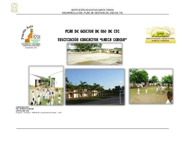 INSTITUCIÓN EDUCATIVA SANTA TERESA                                                               DESARROLLO DEL PLAN DE GE...