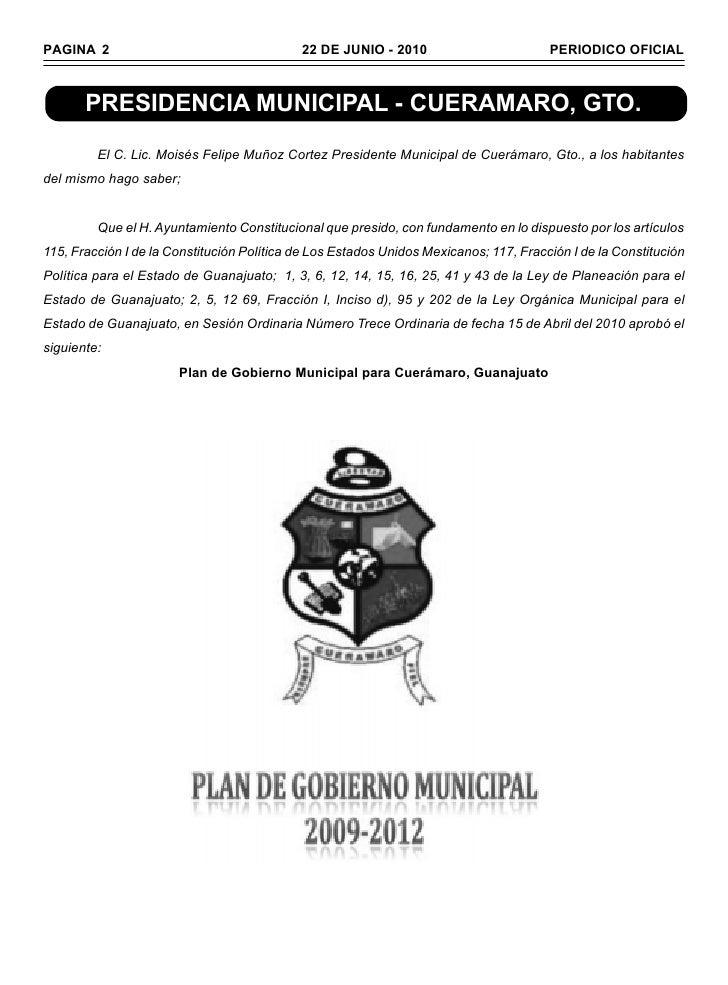 PAGINA 2                                    22 DE JUNIO - 2010                         PERIODICO OFICIAL       PRESIDENCIA...