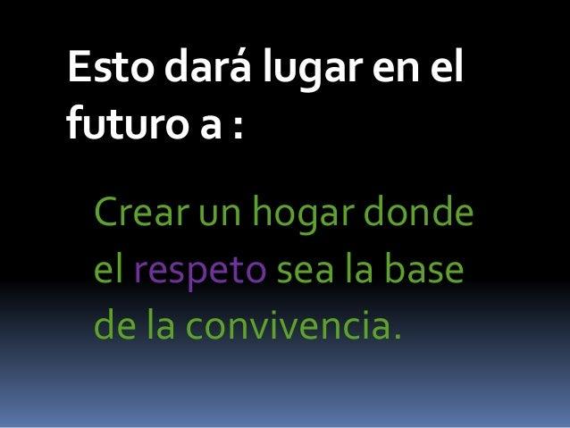 Esto dará lugar en el futuro a : Crear un hogar donde el respeto sea la base de la convivencia.