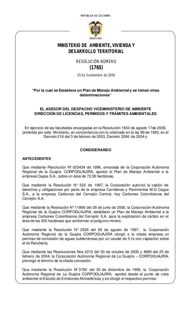 REPÚBLICA DE COLOMBIA                     MINISTERIO DE AMBIENTE, VIVIENDA Y                          DESARROLLO TERRITORI...