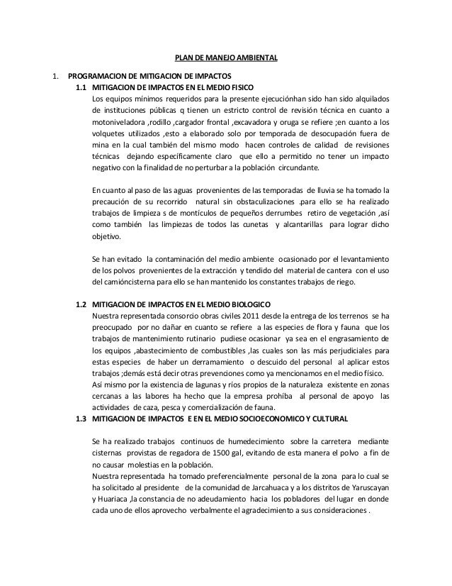 PLAN DE MANEJO AMBIENTAL1.   PROGRAMACION DE MITIGACION DE IMPACTOS       1.1 MITIGACION DE IMPACTOS EN EL MEDIO FISICO   ...