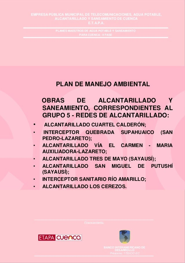 EMPRESA PÚBLICA MUNICIPAL DE TELECOMUNICACIONES, AGUA POTABLE, ALCANTARILLADO Y SANEAMIENTO DE CUENCA E.T.A.P.A. Financiam...