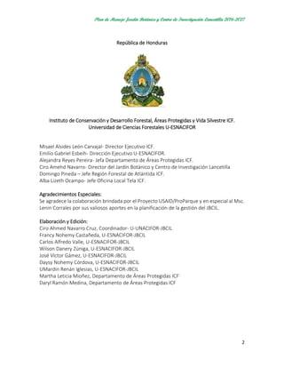 Plan De Manejo Jardin Botanico Lancetilla Junio 2016