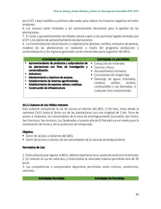 Plan de manejo jardin botanico lancetilla junio 2016 for Actividades jardin botanico