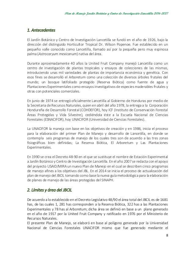Plan de manejo jardin botanico lancetilla junio 2016 for Caracteristicas de un jardin botanico