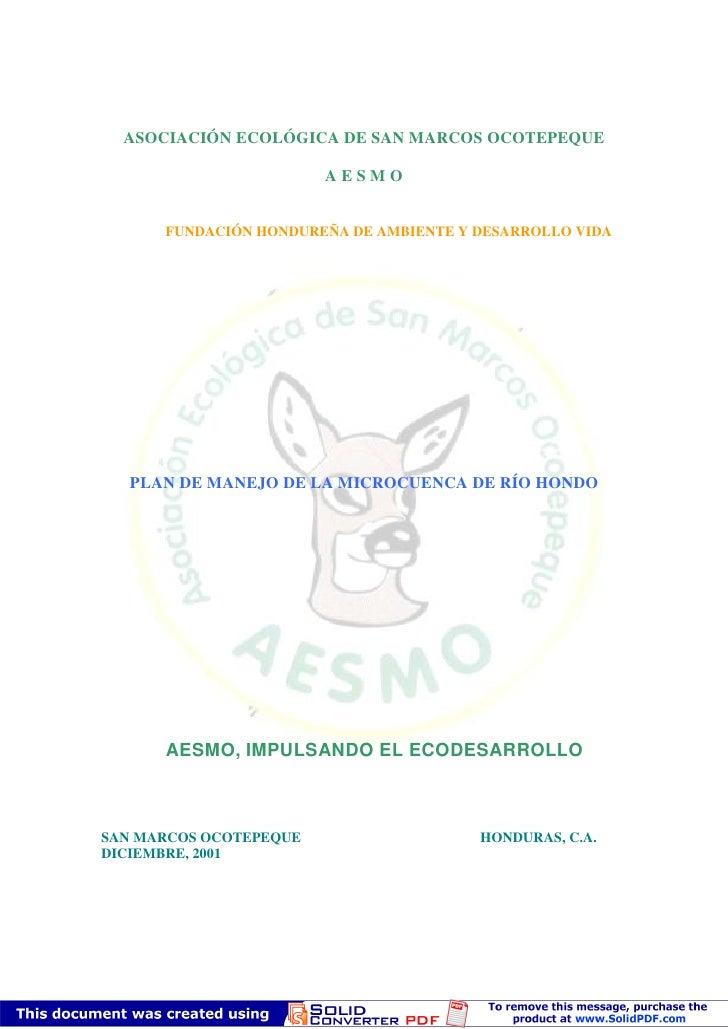 ASOCIACIÓN ECOLÓGICA DE SAN MARCOS OCOTEPEQUE                          AESMO         FUNDACIÓN HONDUREÑA DE AMBIENTE Y DES...