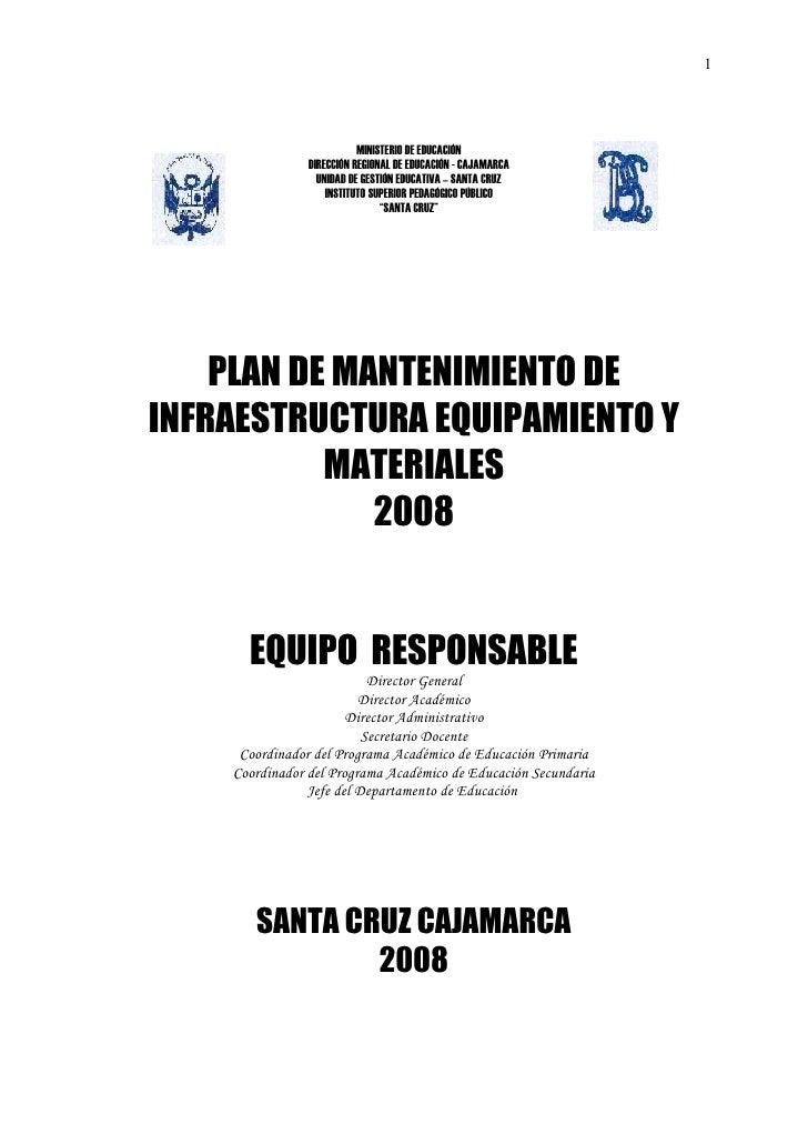 Plan de mantenimiento de infraestructura, equipos y materiales 2008