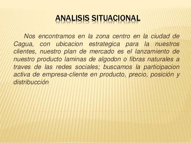 ANALISIS SITUACIONAL Nos encontramos en la zona centro en la ciudad de Cagua, con ubicacion estrategica para la nuestros c...