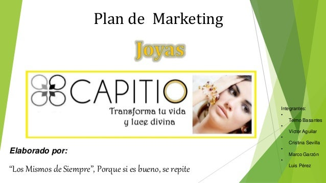 Plan de marketing de Joyas CAPITIO