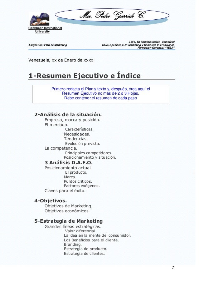 Plan Marketing Resumen Ejecutivo - Best Market 2017