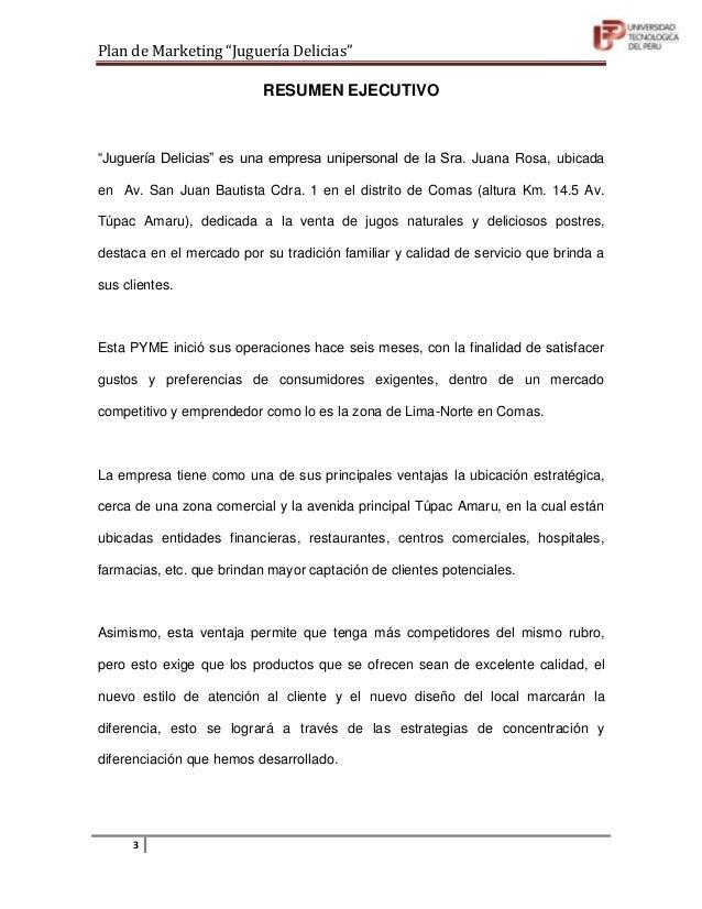 """Plan de marketing """"juguería delicias"""" Slide 3"""
