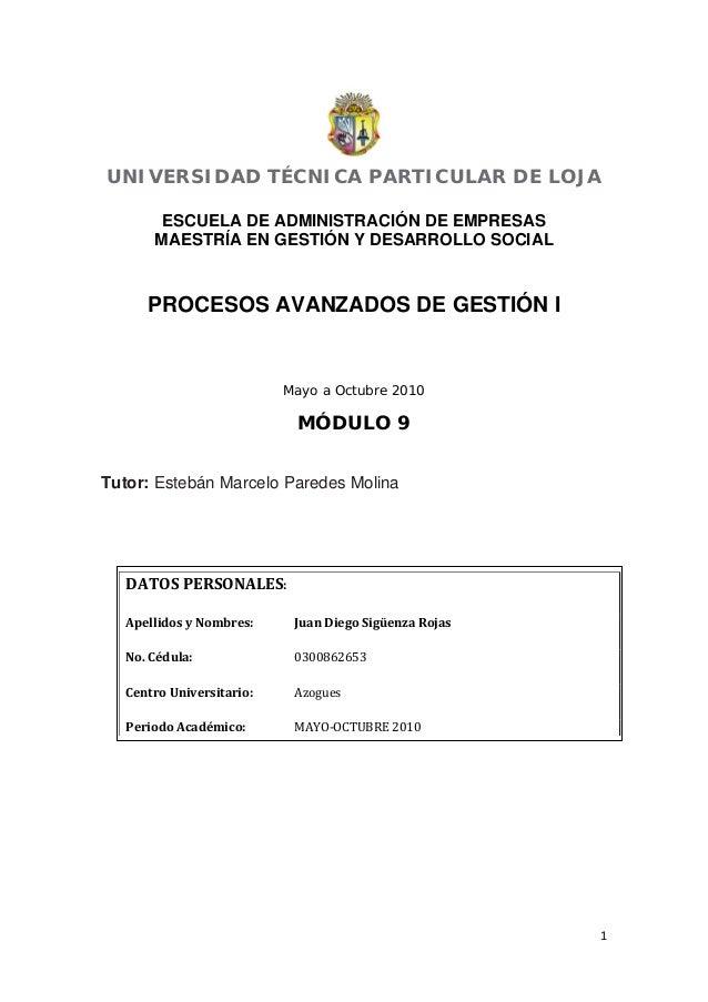 1  UNIVERSIDAD TÉCNICA PARTICULAR DE LOJA ESCUELA DE ADMINISTRACIÓN DE EMPRESAS MAESTRÍA EN GESTIÓN Y DESARROLLO SOCIAL ...