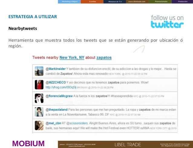 ESTRATEGIAAUTILIZAR Nearbytweets Herramienta que muestra todos los tweets que se están generando por ubicación ó región....