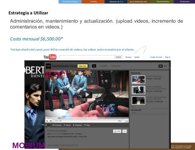 Estrategia a Utilizar Administración, mantenimiento y actualización. (upload videos, incremento de comentarios en videos.)...