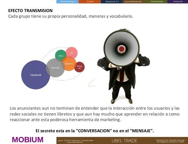 EFECTO TRANSMISION Cada grupo tiene su propia personalidad, maneras y vocabulario.  Los anunciantes aun no terminan de ent...