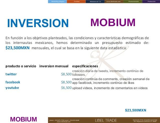 INVERSION  MOBIUM  En función a los objetivos planteados, las condiciones y características demográficas de los internauta...