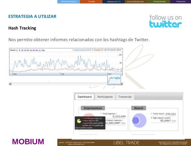 ESTRATEGIAAUTILIZAR HashTracking Nos permite obtener informes relacionados con los hashtags de Twitter.   MOBIUM