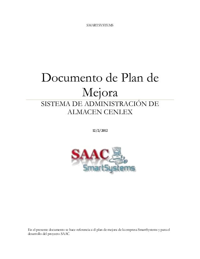 SMARTSYSTEMS         Documento de Plan de              Mejora         SISTEMA DE ADMINISTRACIÓN DE               ALMACEN C...