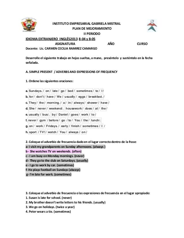 INSTITUTO EMPRESARIAL GABRIELA MISTRALPLAN DE MEJORAMIENTOII PERIODOIDIOMA EXTRANJERO INGLÉS2013 8-04 y 8-05ASIGNATURA AÑO...