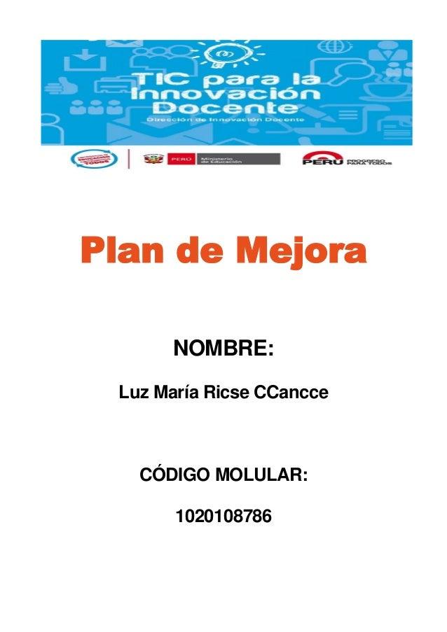 Plan de Mejora NOMBRE: Luz María Ricse CCancce CÓDIGO MOLULAR: 1020108786