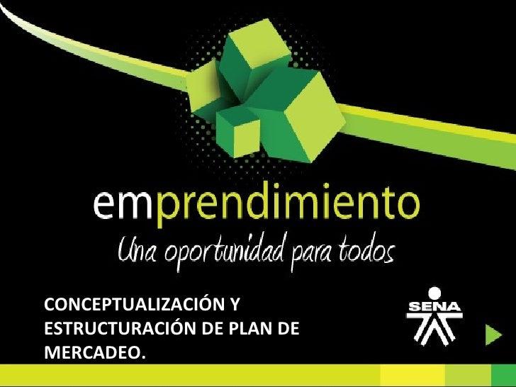 CONCEPTUALIZACIÓN Y ESTRUCTURACIÓN DE PLAN DE MERCADEO.