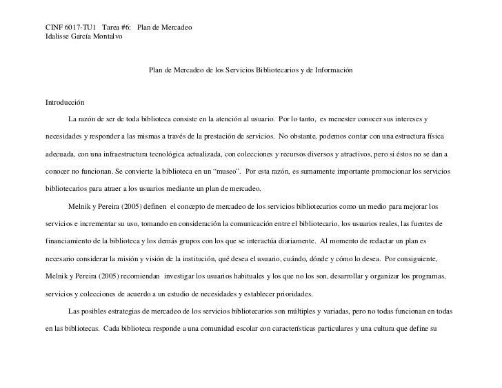 CINF 6017-TU1 Tarea #6: Plan de MercadeoIdalisse García Montalvo                                  Plan de Mercadeo de los ...