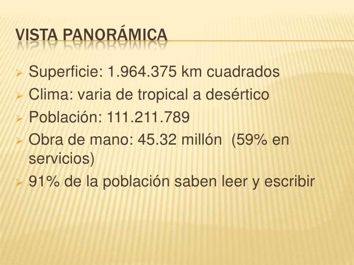 Clima: varia de tropical a desértico