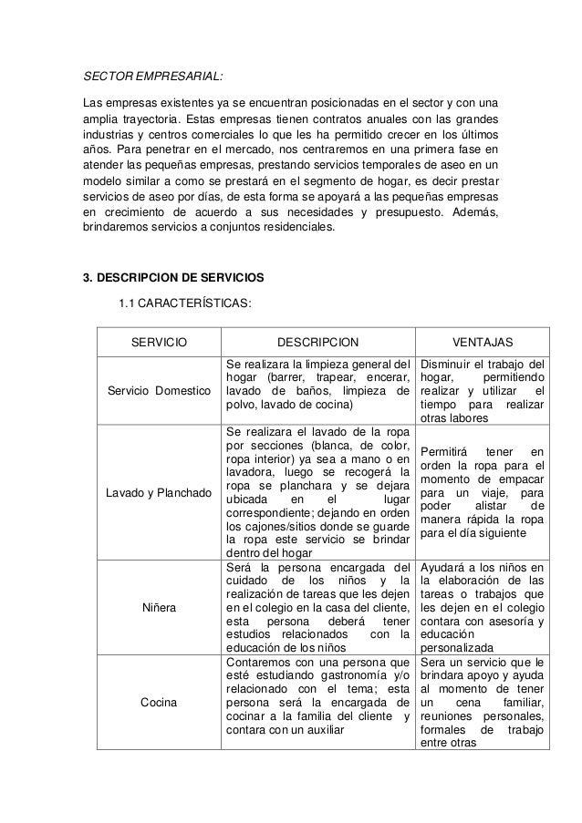 Plan de negocio servicio domestico for Contrato para empleada domestica