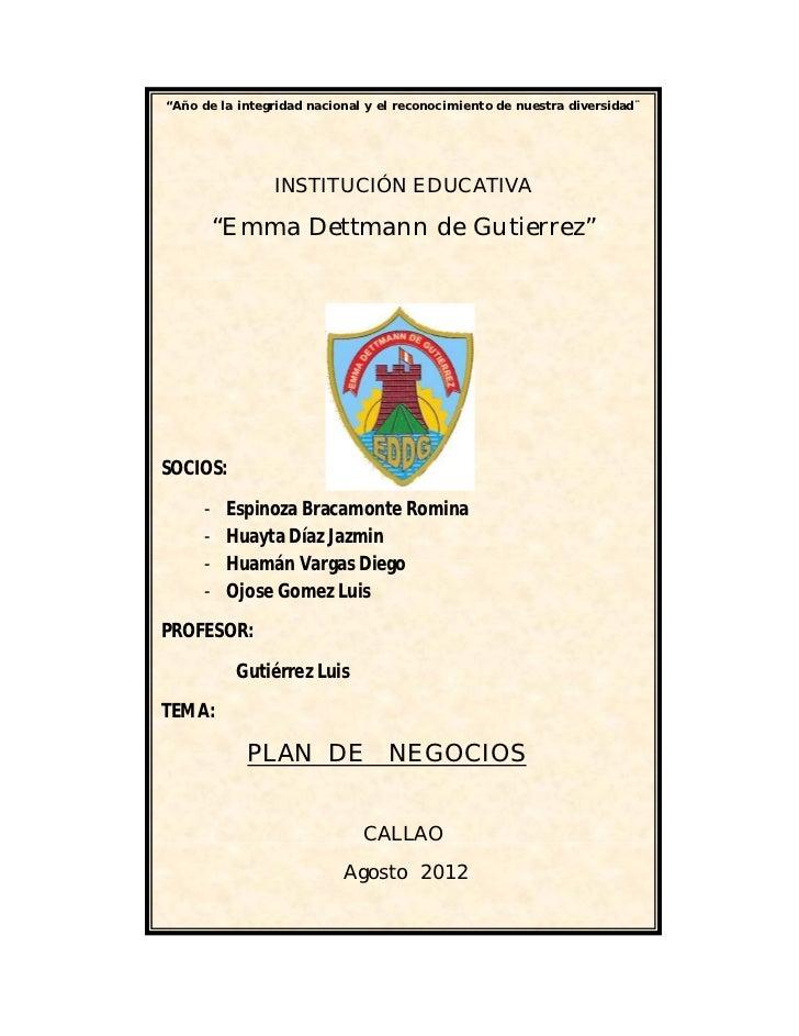 """""""Año de la integridad nacional y el reconocimiento de nuestra diversidad¨                INSTITUCIÓN EDUCATIVA         """"Em..."""