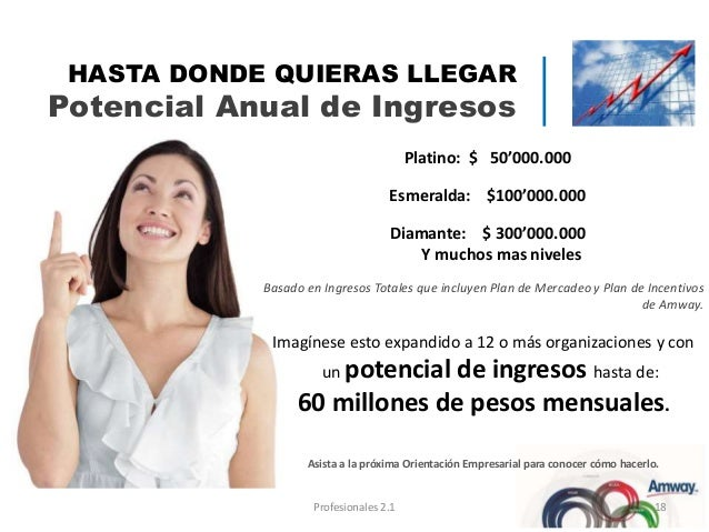 Platino: $ 50'000.000 Esmeralda: $100'000.000 Diamante: $ 300'000.000 Y muchos mas niveles Basado en Ingresos Totales que ...