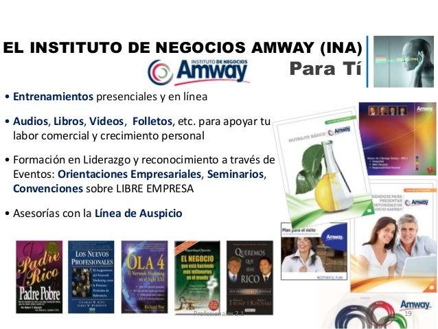 • Entrenamientos presenciales y en línea • Audios, Libros, Videos, Folletos, etc. para apoyar tu labor comercial y crecimi...