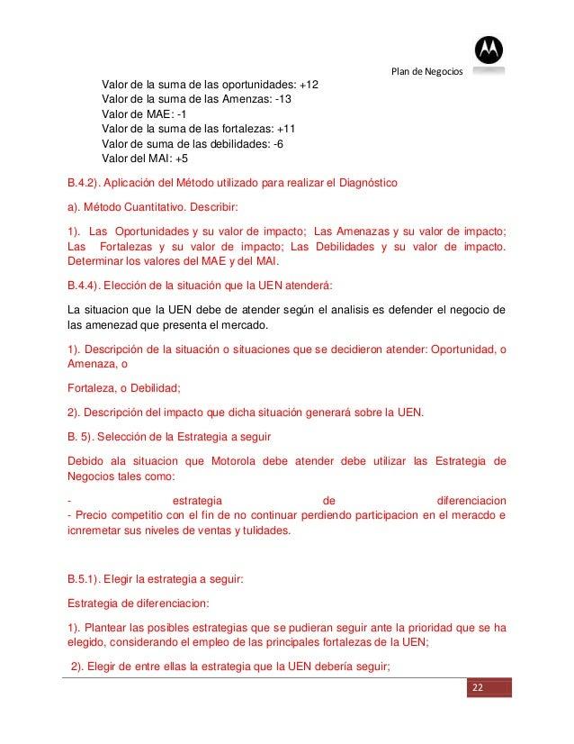 Plan de Negocios       Valor de la suma de las oportunidades: +12       Valor de la suma de las Amenzas: -13       Valor d...