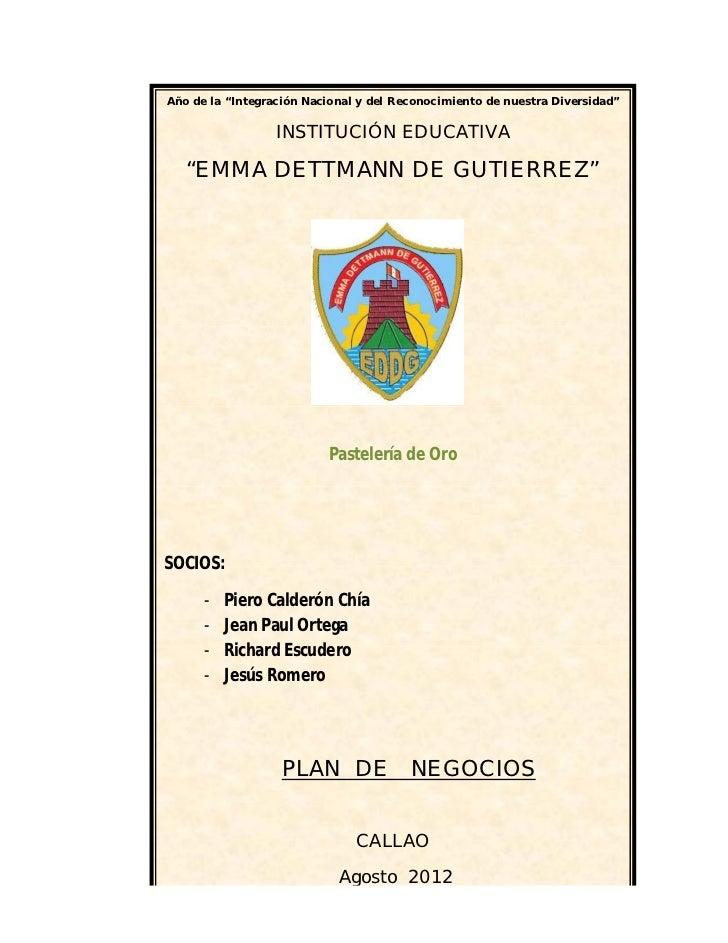 """Año de la """"Integración Nacional y del Reconocimiento de nuestra Diversidad""""                  INSTITUCIÓN EDUCATIVA   """"EMMA..."""