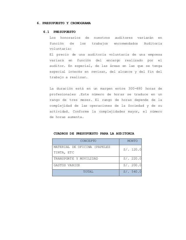 6. PRESUPUESTO Y CRONOGRAMA  6.1 PRESUPUESTO  Los honorarios de nuestros auditores variarán en  función de los trabajos en...