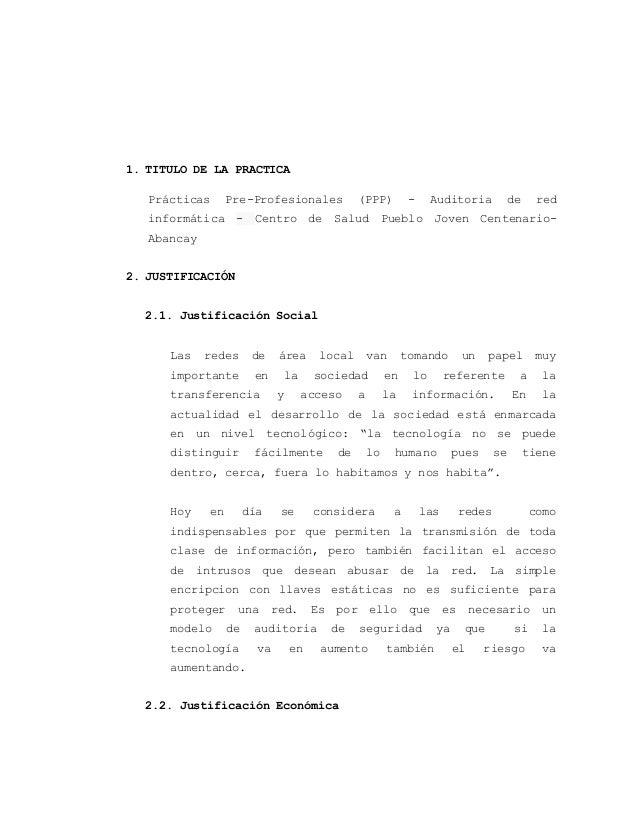1. TITULO DE LA PRACTICA  Prácticas Pre-Profesionales (PPP) - Auditoria de red  informática - Centro de Salud Pueblo Joven...