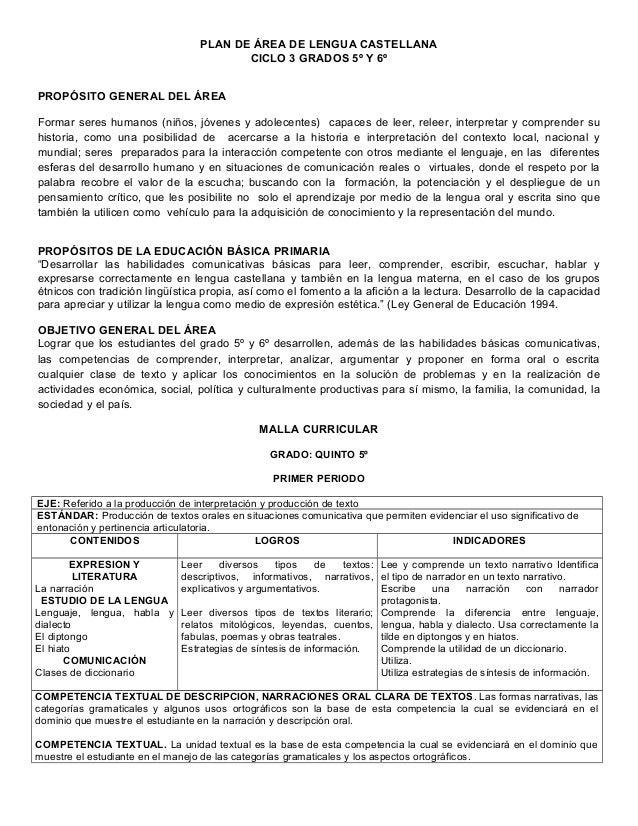 PLAN DE ÁREA DE LENGUA CASTELLANACICLO 3 GRADOS 5º Y 6ºPROPÓSITO GENERAL DEL ÁREAFormar seres humanos (niños, jóvenes y ad...