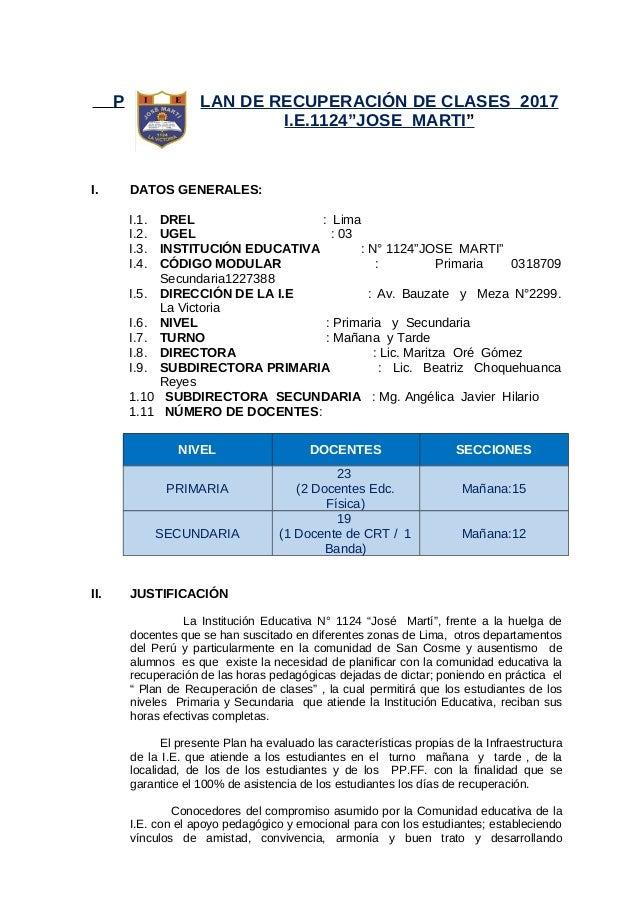 Plan De Recuperacion De Clase 2017 I E N 1124 Jose Marti
