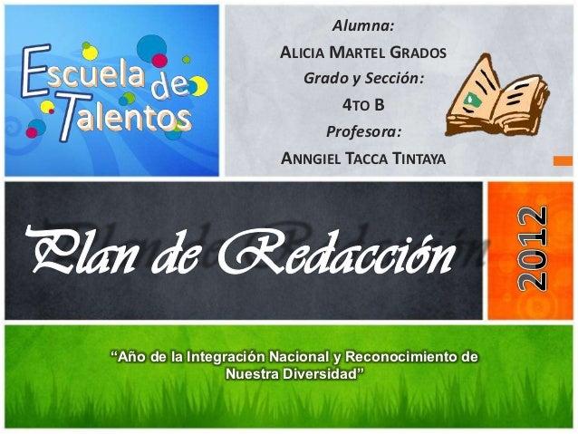 Alumna:                       ALICIA MARTEL GRADOS                          Grado y Sección:                              ...