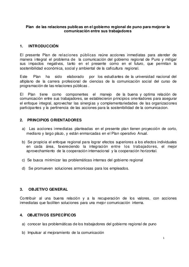 Plan de las relaciones publicas en el gobierno regional de puno para mejorar la  1  comunicación entre sus trabajadores  1...