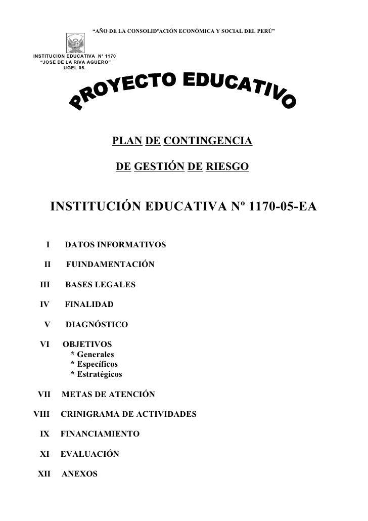 """""""AÑO DE LA CONSOLIDºACIÓN ECONÓMICA Y SOCIAL DEL PERÚ""""    INSTITUCION EDUCATIVA N° 1170    """"JOSE DE LA RIVA AGUERO""""       ..."""