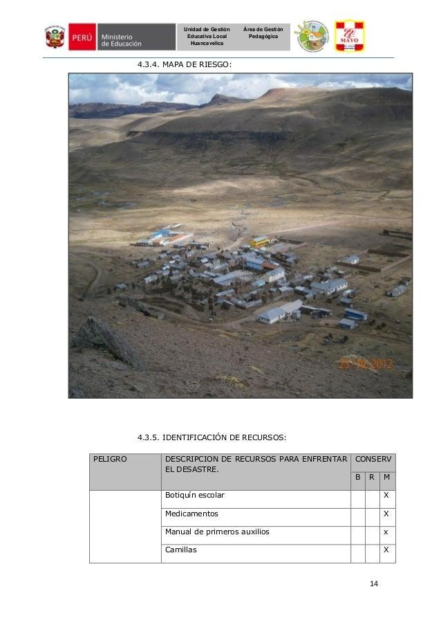 14 Unidad de Gestión Educativa Local Huancavelica Área de Gestión Pedagógica 4.3.4. MAPA DE RIESGO: 4.3.5. IDENTIFICACIÓN ...
