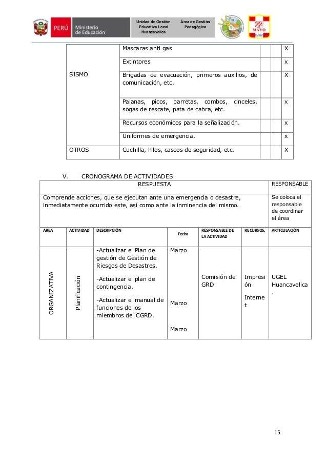 15 Unidad de Gestión Educativa Local Huancavelica Área de Gestión Pedagógica SISMO Mascaras anti gas X Extintores x Brigad...