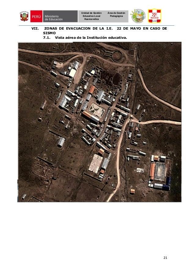 21 Unidad de Gestión Educativa Local Huancavelica Área de Gestión Pedagógica VII. ZONAS DE EVACUACION DE LA I.E. 22 DE MAY...