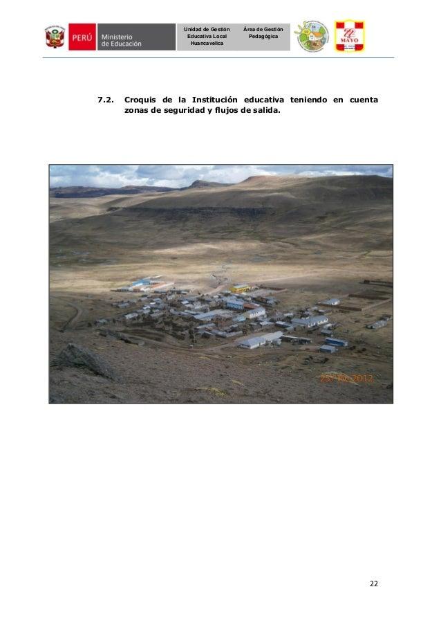 22 Unidad de Gestión Educativa Local Huancavelica Área de Gestión Pedagógica 7.2. Croquis de la Institución educativa teni...