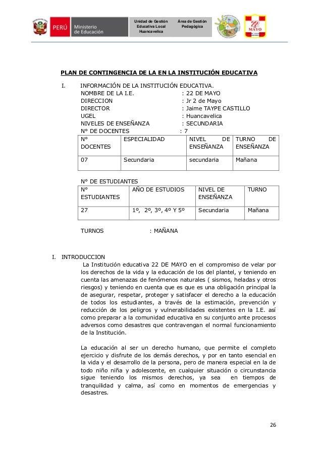 26 Unidad de Gestión Educativa Local Huancavelica Área de Gestión Pedagógica PLAN DE CONTINGENCIA DE LA EN LA INSTITUCIÓN ...