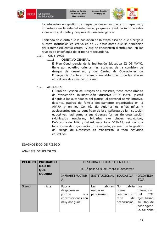 27 Unidad de Gestión Educativa Local Huancavelica Área de Gestión Pedagógica La educación en gestión de riegos de desastre...