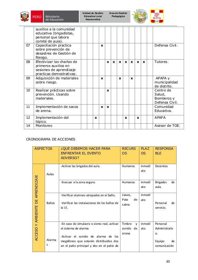 30 Unidad de Gestión Educativa Local Huancavelica Área de Gestión Pedagógica auxilios a la comunidad educativa (brigadista...