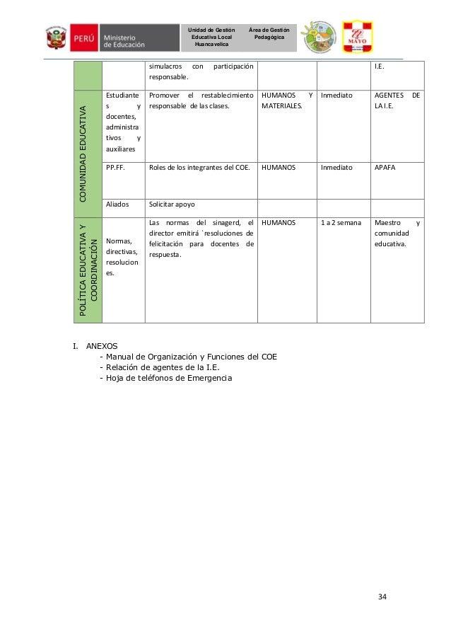 34 Unidad de Gestión Educativa Local Huancavelica Área de Gestión Pedagógica simulacros con participación responsable. I.E...
