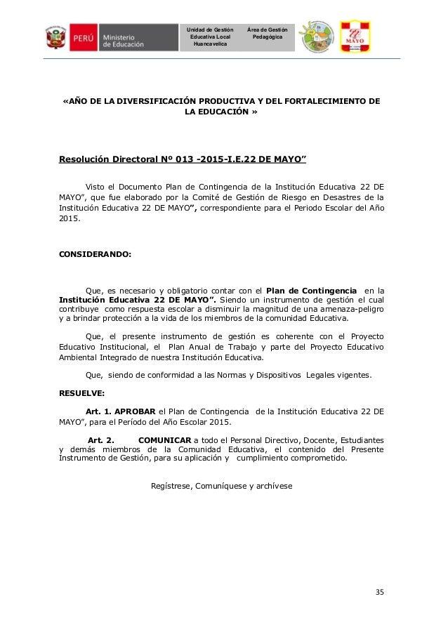 35 Unidad de Gestión Educativa Local Huancavelica Área de Gestión Pedagógica «AÑO DE LA DIVERSIFICACIÓN PRODUCTIVA Y DEL F...